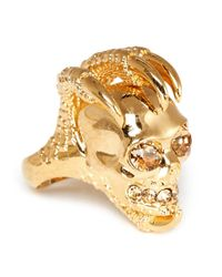 Alexander McQueen | Metallic Rock Crystal Large Skull Claw Ring | Lyst