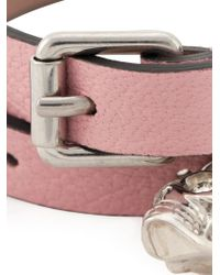 Alexander McQueen - Pink Skull Double Wrap Bracelet - Lyst