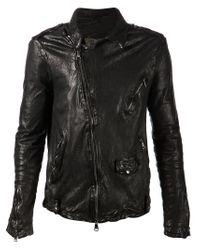 Giorgio Brato - Black Crumpled Biker Jacket for Men - Lyst