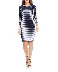 Lauren by Ralph Lauren Blue Striped Lace-up Cotton Dress