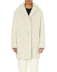 KENZO | White Textured Wool-blend Coat | Lyst
