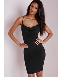 Missguided - Faux Suede Cowl Neck Midi Dress Black - Lyst
