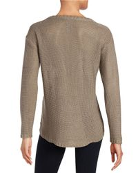 Lord & Taylor | Brown Hi-lo Knit Sweater | Lyst