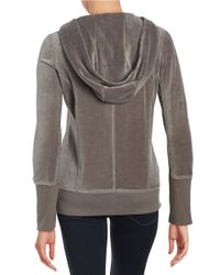 Calvin Klein Gray Asymmetrical-zip Velour Hoodie