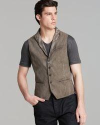 John Varvatos Brown Collection Peak Lapel Stripe Vest for men