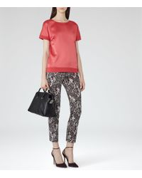Reiss - Brown River Contrast-cuff Top - Lyst