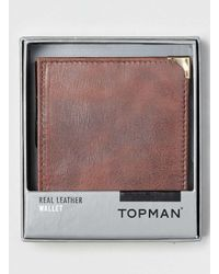 TOPMAN - Red Burgundy Leather Wallet for Men - Lyst