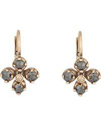 Anaconda Metallic Women's Mixed-diamond Quadrifoglio Earrings