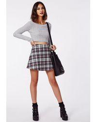 Missguided Grace Tartan Print A-line Skirt White
