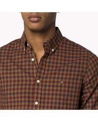 Tommy Hilfiger | Brown Cotton Check Slim Fit Shirt for Men | Lyst