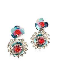 Shourouk | Capri Blue Flower Earrings W/Crystals And Sequins | Lyst