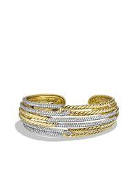 David Yurman | Metallic Labyrinth Triple-loop Cuff With Diamonds And Gold | Lyst