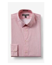 Express | Red Tall Modern Fit Micro Basket Weave Print Shirt for Men | Lyst