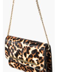 Mango - Multicolor Leather Fur Clutch - Lyst