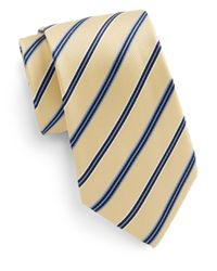 Saks Fifth Avenue | Yellow Boxed Striped Silk Tie for Men | Lyst
