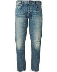 Citizens of Humanity - Blue Emerson Slim-Fit Boyfriend Cropped Low-Rise Jeans - Lyst