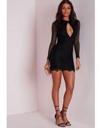 Missguided - Keyhole Lace Bodycon Dress Black - Lyst