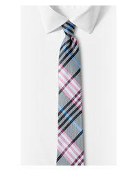 Express - Pink Narrow Plaid Silk Tie - Raspberry for Men - Lyst