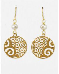 Lord & Taylor | White 14k Gold Disc And Pearl Drop Earrings | Lyst
