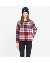 Madewell Red Brushed Plaid Pullover Top