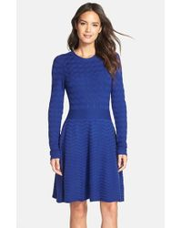 Eliza J | Blue Chevron-Knit Sweater Dress | Lyst