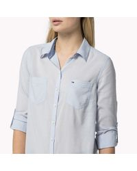 Tommy Hilfiger | Blue Cotton Blend Long Sleeve Shirt | Lyst