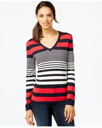Tommy Hilfiger - Blue Striped V-neck Top - Lyst