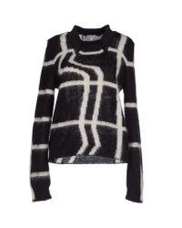 KENZO Black Neon-plaid Mohair-blend Sweater