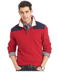 Izod | Red Mock-neck Colorblocked Quarter-zip Fleece Sweater for Men | Lyst