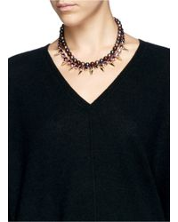 Joomi Lim | Purple Spike Crystal Faux Pearl Double Strand Necklace | Lyst