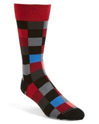 Bugatchi Black Check Socks for men