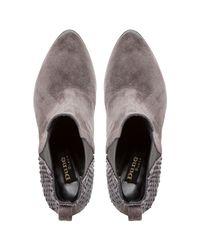 Dune Black Gray Pondo Block Heeled Ankle Boots