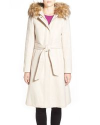 Eliza J Natural Belted Brushed Wool Blend Fit & Flare Coat With Faux Fur Trim Hood