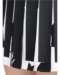 McQ - Black Bunny Print Coated Pleat Crepe Dress - Lyst