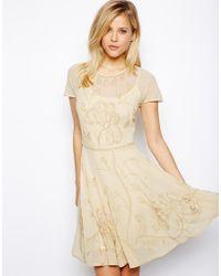 ASOS | Natural Beautiful Lace Mix Embellished Skater Dress | Lyst