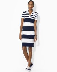 Ralph Lauren Lauren Short Sleeve Polo Dress In White Lyst