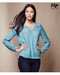Tokyo Darling | Blue Long Sleeve Wrapped Top | Lyst