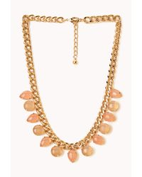 Forever 21 | Pink Natural Stone Statement Necklace | Lyst