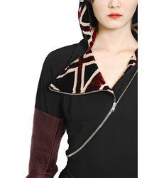 Jean Paul Gaultier Black Hooded Viscose Jersey Dress