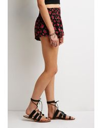 Forever 21 | Red Rose Print Chiffon Shorts You've Been Added To The Waitlist | Lyst