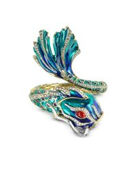 Roberto Cavalli | Blue Carp Metal and Enamel Bangle Bracelet | Lyst