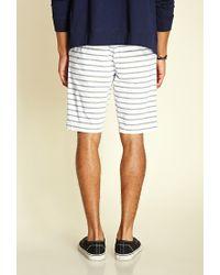 Forever 21 Blue Striped Drawstring Shorts for men