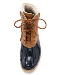Sperry Top-Sider Brown Shearwater Lined Booties - Cognac/Navy
