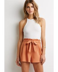 Forever 21 - Orange Contemporary Pleated-waist Shorts - Lyst