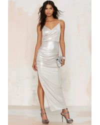 Nasty Gal | Metallic Read The Shine Print Maxi Dress | Lyst