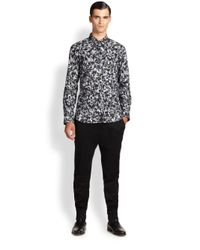 HUGO - Gray Camo Print Sportshirt for Men - Lyst