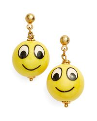 Venessa Arizaga | Yellow 'make Me Smile' Drop Earrings | Lyst