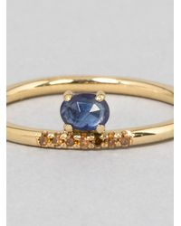 Mociun Blue Stacked Sapphire Ring Gold