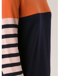 Cedric Charlier - Blue Striped Knit Dress - Lyst