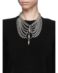 Ela Stone - Metallic 'saskia' Bullet Spike Plastron Chain Necklace - Lyst